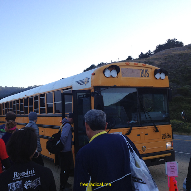Boarding the bus to the starting point